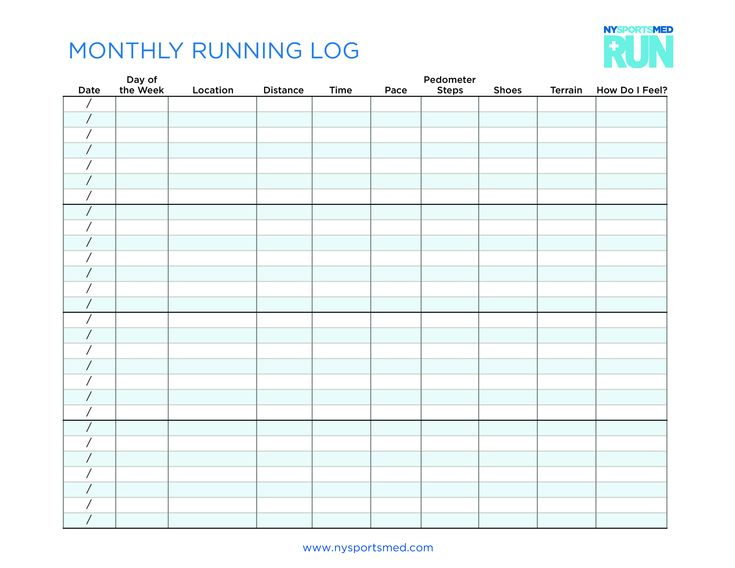 monthly running log  how to create a monthly running log