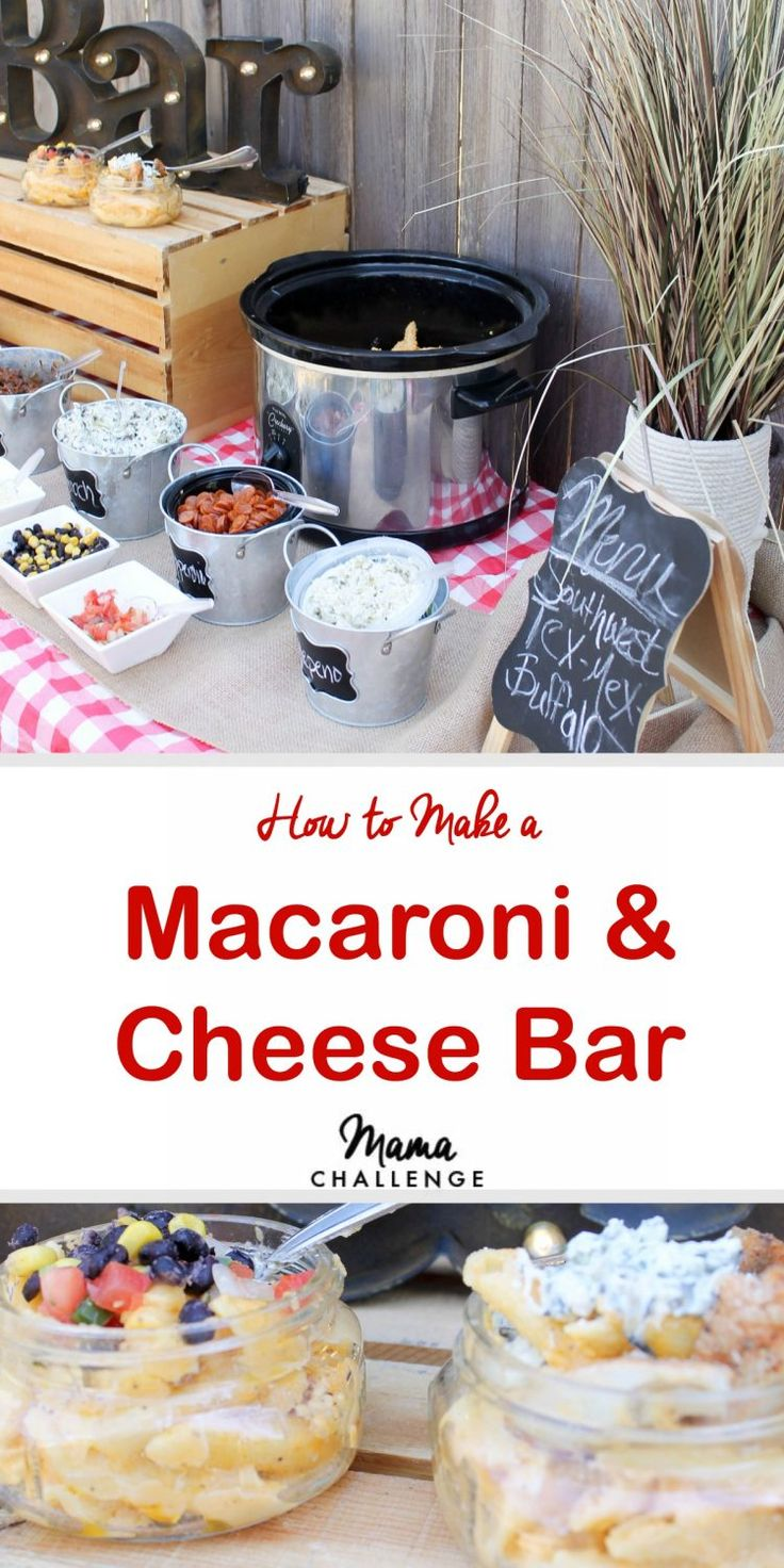 Macaroni and Cheese Bar // What's better than macaroni and cheese? NOTHING. Well except macaroni and cheese with stuff in it. Make your next dinner, girls' night or cookout the easiest and cheesiest with a macaroni and cheese bar.