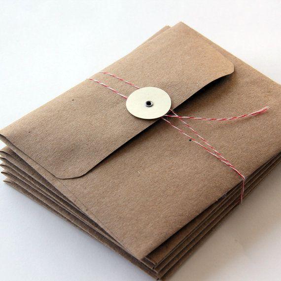 6 enveloppes kraft avec Tie Bouton A2 Fermeture Taille
