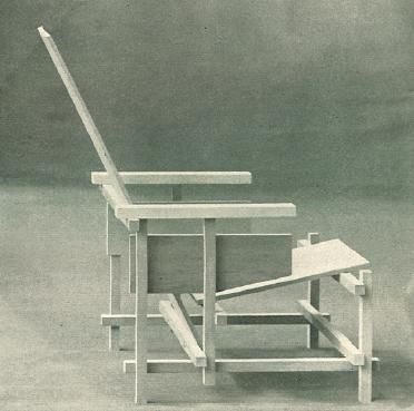 Unpainted Rietveld chair, circa 1918, as published in De Stijl magazine
