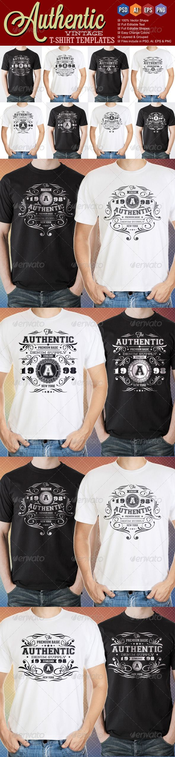 White t shirt eps - Authentic Vintage T Shirt Templates