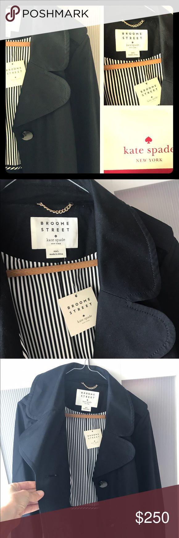 Kate Spade❤️Trench Coat Black Rain coat Authentic Kate Spade Classic Trench Coat. Brand new! Tags attached. Store bag included! Size Large kate spade Jackets & Coats Trench Coats