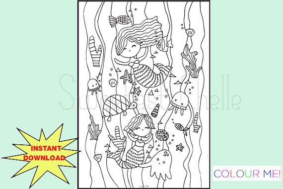 Cute Printable A5 COLORING Page Under the Sea by SweetestChelle