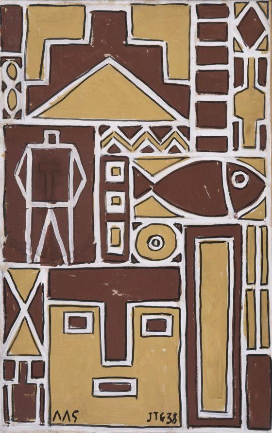 Construction with White Line (Contrucción con línea blanca) 1938, Joaquín Torres-García; symbols incorporated include a man, a face and a fish. (LACMA)