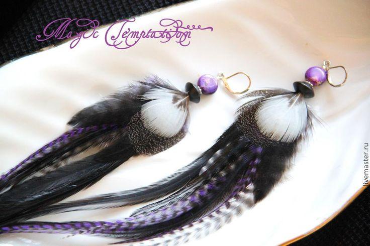 Купить Длинные черно-фиолетовые серьги из перьев с варисцитом. - серьги ручной работы, серьги из перьев