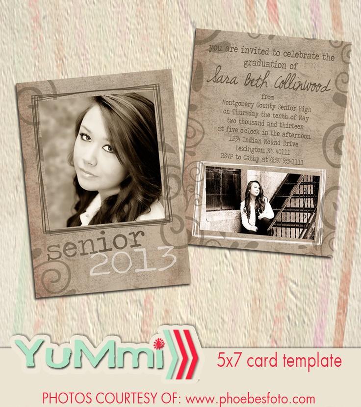 PSD senior graduation invitation card by YummiPhotoshopDesign