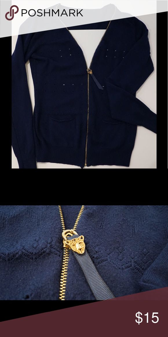 """Navy Blue zip up sweater Cute navy blue zip up sweater. Eyelet holes, adorable gold zipper.  SUPER Soft. It's a large, but on a """"smaller"""" large. Sweaters Cardigans"""