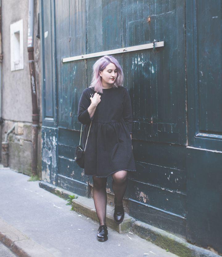 Black denim dress, Dr Martens and tights