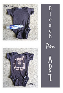 Genius!!! Bleach Pen Onesies with Fabric Paint