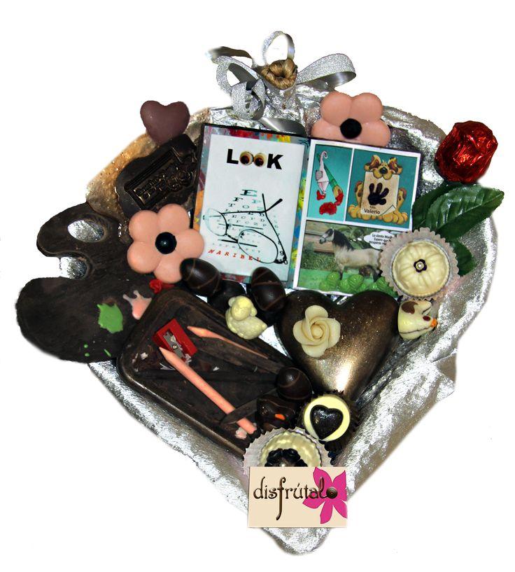 Cesta de chocolates personalizados www.disfrutalovitoria.com