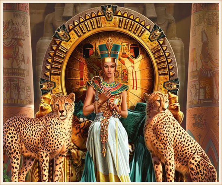 5D Diamant Malerei Stickerei Dekoration leopard und Cleopatra Kreuz Mosaik cube bohrer geschenk neujahr Home Decor(China (Mainland))
