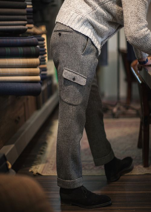 B&Tailor bespoke Tweed Cargo Trousers