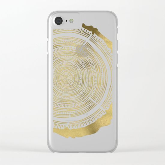 Douglas Fir – Gold Tree Rings Clear iPhone Case