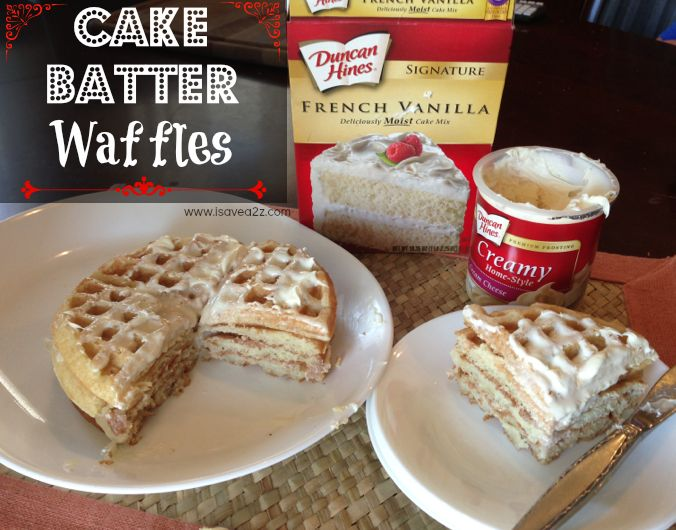 Oh My WORD! You've just got to try this cake batter waffles recipe! It's so simple and fast to make! You want to serve it warm when the frosting is gooey