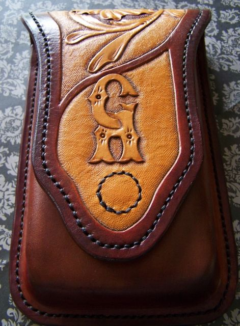 """Custom leather hand tooled/stitched cigar travel case. Holds 3 cigars up to 6 1/4"""" sideshowatelier@gmail.com"""