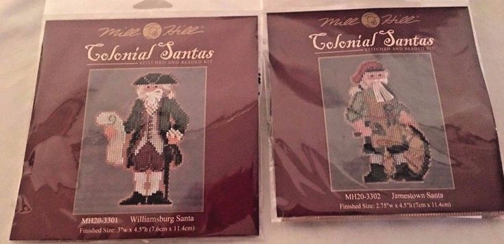Mill Hill Colonial Santas Stitch and Bead Kit 2 Pack Jamestown, Williamsburg   #MillHill #Sampler #Christmas