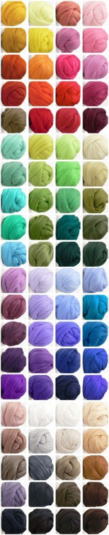 This spectrum of glory is from www.opulentfibers.com .... the most amazing selection of glorious colors in wools, silks, and so on ...