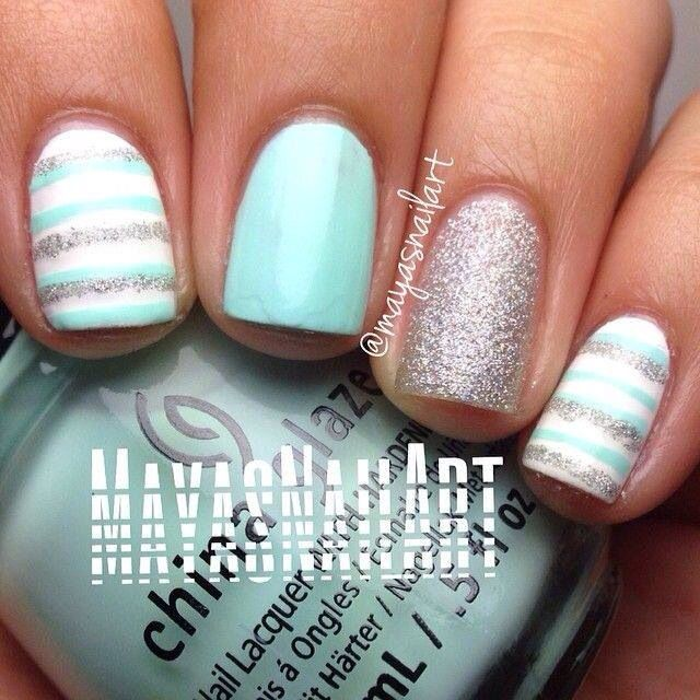 Nail Art - Gorgeous Tiffany blue, silver, glitter & stripes #manicure...x