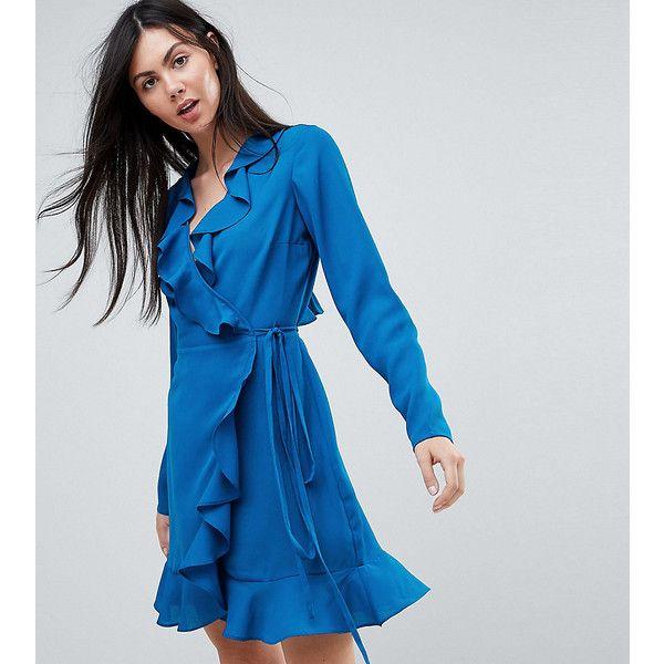 ASOS TALL Long Sleeve Ruffle Wrap Mini Dress ($39) ❤ liked on Polyvore featuring dresses, blue, mini wrap dress, long sleeve wrap dress, wrap front dress, long sleeve dress and ruffle wrap dress