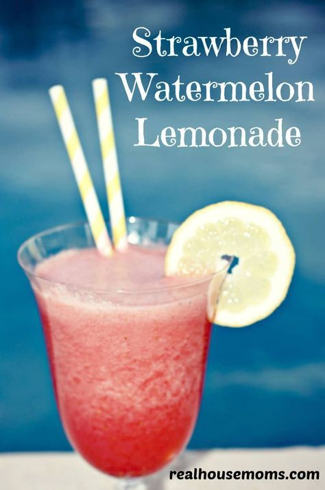 Strawberry Watermelon Lemonade is a super refreshing drink that can also be made into a cocktail so everyone can enjoy it during the hot summer months!