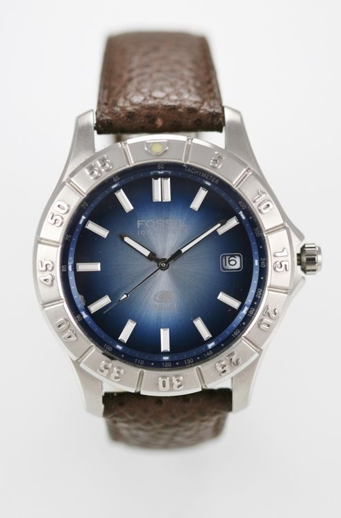 Fossil Blue Watch Mens Date Water Res 100m Stainless Silver Leather Brown Quartz