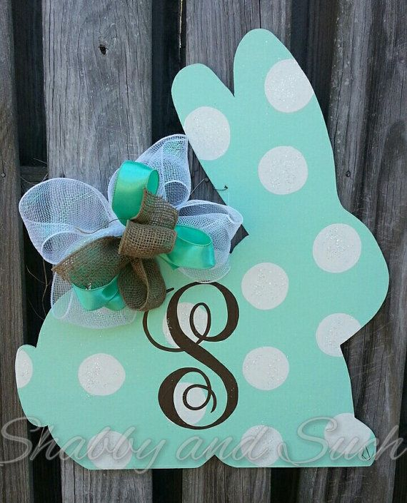 A new design in my personalized script initial line! This sweet bunny silhouette features jumbo dots dusted with crystal glitter and a large