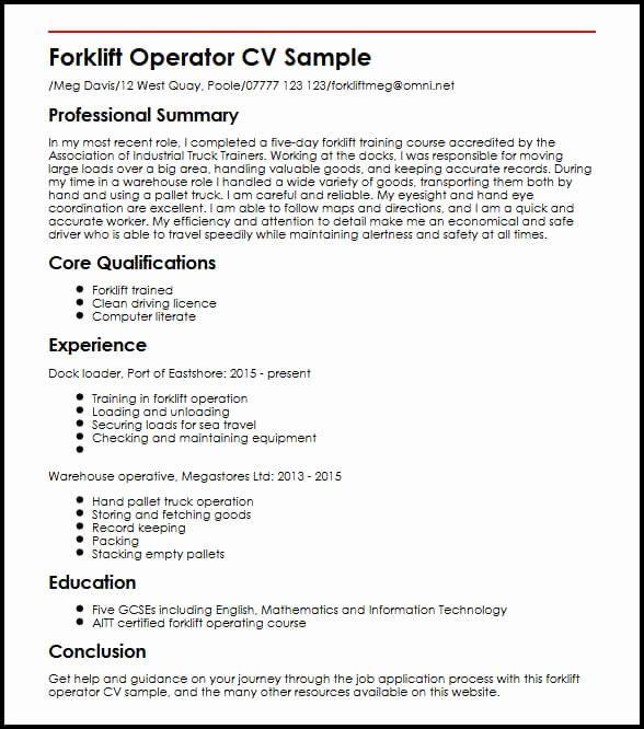 Certified Forklift Operator Resume Best Of Forklift Operator Cv Sample In 2020 Job Resume Samples Resume Medical Assistant Resume