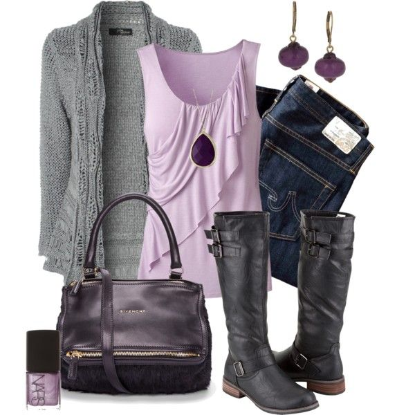 Grey and Lilac :) Jane Norman silver cable ladder stitch cardigan, $22. Goldwater Creek soft ruffle tank, $25. Citysnappers black riding boots, $45.