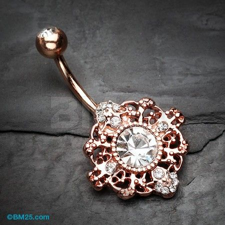 Rose Gold Filigree Mandala Sparkle Belly Button Ring