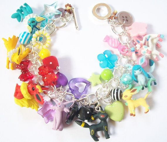 Pokemon Bracelet - Ultimate Eeveelution Charm Bracelet - Eevee, Vaporeon, Jolteon, Flareon, Espeon, Umbreon, Leafeon, Glaceon and Sylveon