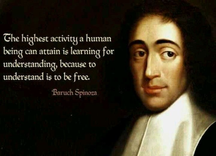 """""""The highest activity a human being can attain is learning for understanding, because to understand is to be free."""" -Baruch Spinoza (1632-1677)."""