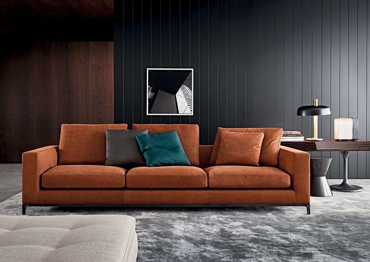 Sofá modular / moderno / de cuero / de tela - ANDERSEN / ANDERSEN QUILT - Minotti