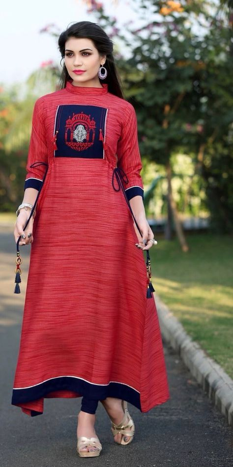 848b8e17b5a  digital  red  printdesign rayon  kurti