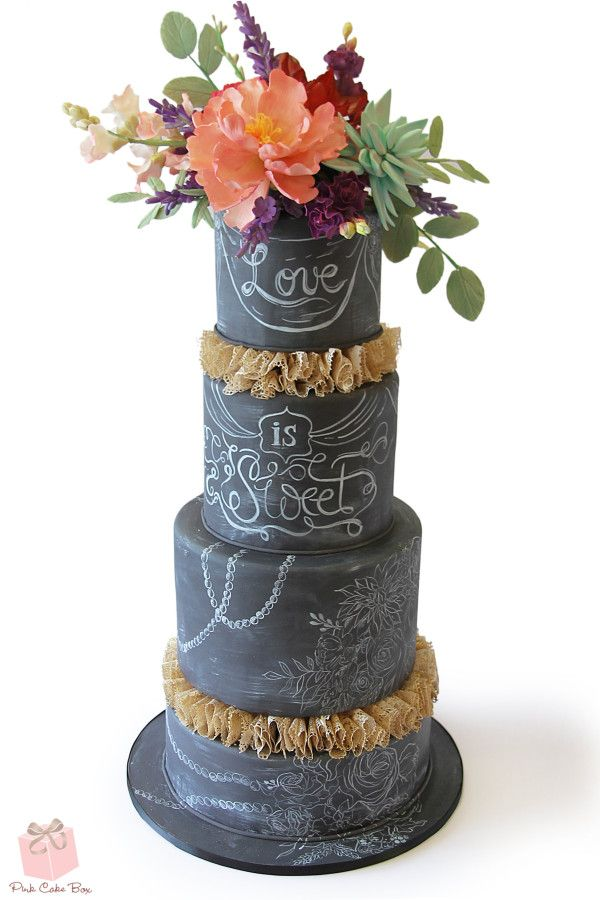 wedding cakes los angeles prices%0A Chalkboard Inspired Rustic Chic Wedding Cake