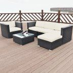 Free Shipping. Buy Costway 6 PCS Rattan Wicker Patio Furniture Set Steel Frame Sofa Cushioned Black at Walmart.com