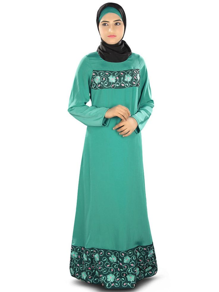 Designer Jian Green Abaya AY319 Muslim Dress Jilbab Hijab Burka Islamic Clothing