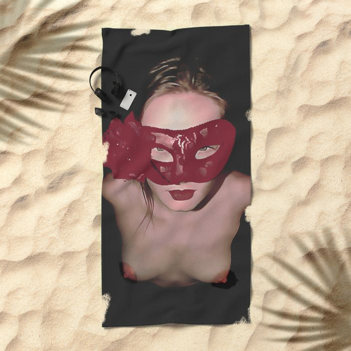 """Submissive girl posing topless, red carnival mask, sexy erotic slave, nude woman on her knees. Lay out like a pro with this super comfy, oversized and unique artist-designed Beach Towel. The soft polyester-microfiber front and cotton terry back are perfect for, well, drying your front and back. This design is also available as a bath and hand towel. Machine washable. Towel Dimensions: 74""""x37"""" #sexy #society6 #towels #beach #towel #design #kinky"""
