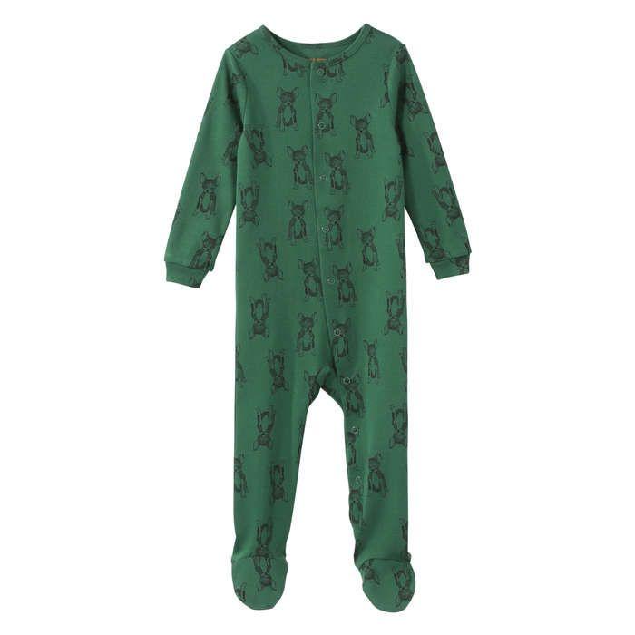 Pyjama imprimé avec protège-pieds intégrés in Vert Foncé de Joe Fresh