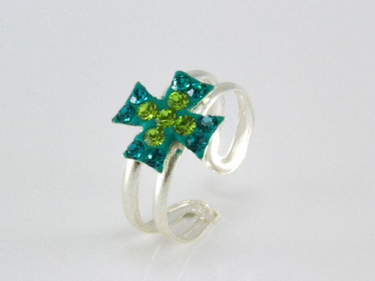 Swarovski kristályos kereszt motívumos lábujjgyűrű