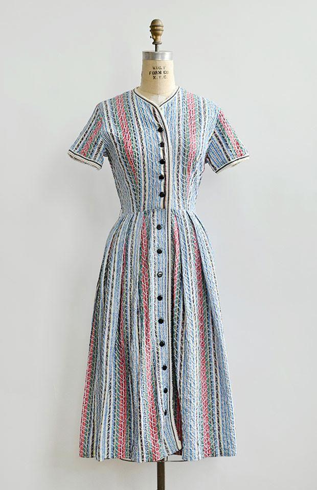 vintage 1940s striped embroidered shirt dress – Adored Vintage