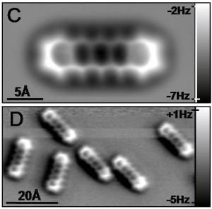 Individual pentacene molecules visualized by atomic force microscopy.