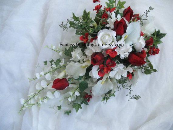 Cascade Wedding Bridal Bouquet Red Rose White By FantasyWedding
