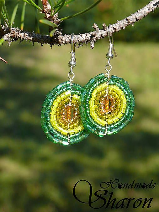Sharon.handmade / Žiarivé korálkové náušnice