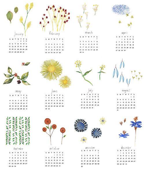 watercolor 2014 calendar