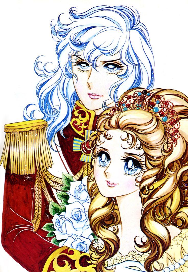 """Art of Marie Antoinette & Lady Oscar from """"Rose Of Versailles"""" series by manga artist Riyoko Ikeda."""