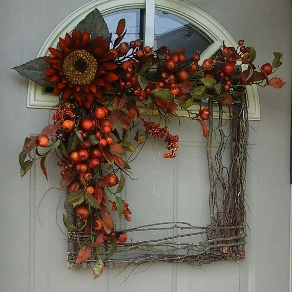 Fall Grapevine Square Wreath Bountiful Berries ... By Bndd, $74.00.  Thanksgiving WreathsAutumn WreathsFront Door ...