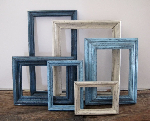 Blue Picture Frame Set of 6 Open/Empty Gallery Wall Art