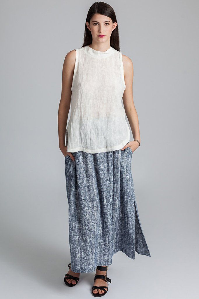 Saturna Skirt - Pillar ethical slow fashion #saturnaskirt #skirt #maxiskirt #ethical #slowfashion #pillar #comfort #spring #summer #shopwonderland #blue #charcoal #sideslit #fashion #madeincanada #vancouver
