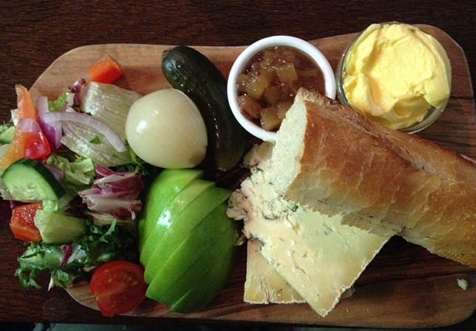 """#MeatlessMonday lunch - Ploughman's Lunch Beer, bread, and cheese have been paired (so to speak) in the English diet since antiquity. Piers Plowman's Crede (c.1394) mentions the traditional ploughman meal of bread, cheese and beer, while the Oxford English Dictionary notes the first recorded use of the actual phrase """"Ploughman's Lunch"""" as occurring in 1837."""