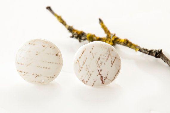 Beige Earrings Tiny Stud Earring Letter Earrings by candyfoxx, $10.50